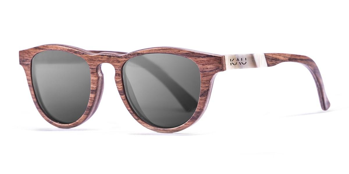 DONOSTIA dark brown wooden frame  polarized  sunglasses Kauoptics side