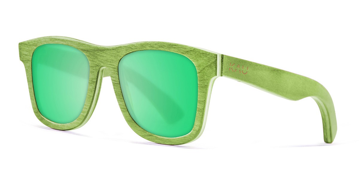 Miami green skate wood polarized sunglasses front