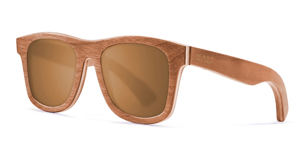 Miami brown skate wood polarized sunglasses front