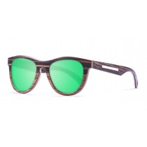 Quebec green lens wooden polarized sunglasses side