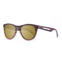 Quebec gold lens wooden polarized sunglasses front