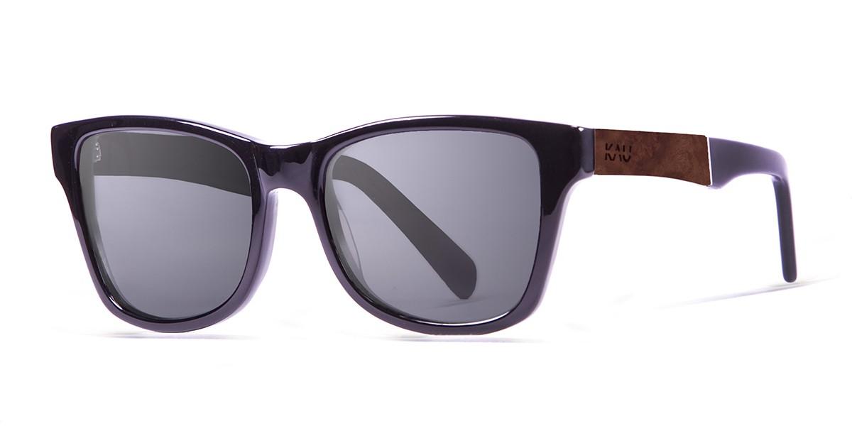 LONDON shiny black with ELM burl  polarized  sunglasses Kauoptics side