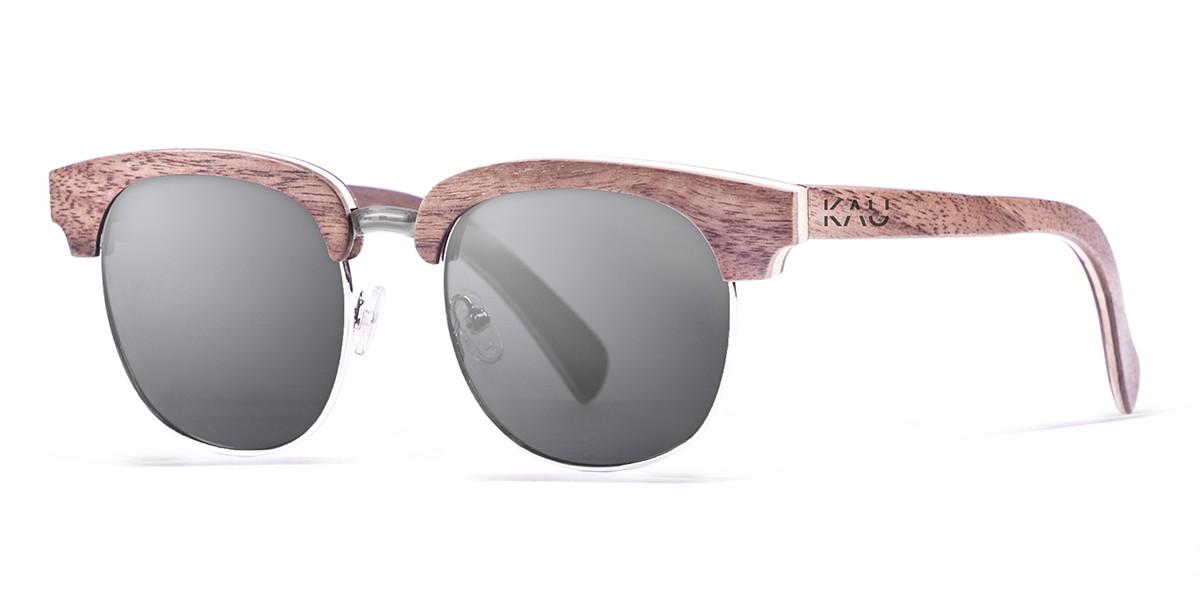NEW YORK brown wooden frame  polarized  sunglasses Kauoptics front