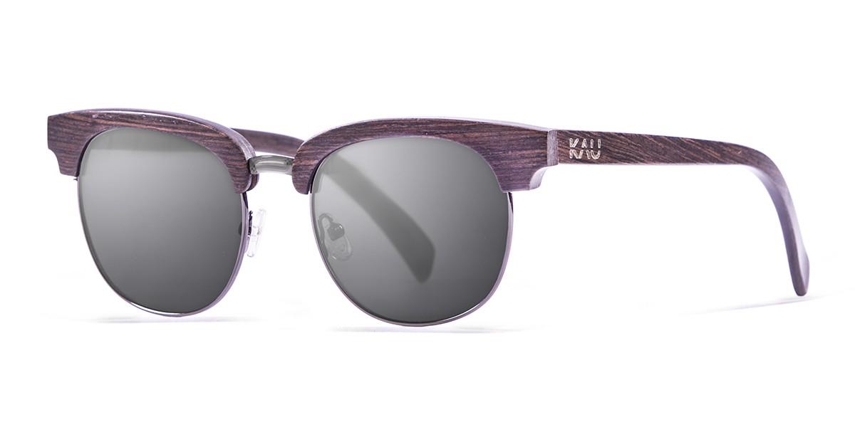 NEW YORK dark brown wooden frame  polarized  sunglasses Kauoptics side