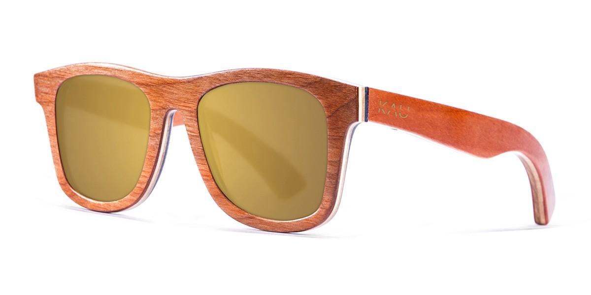 Miami orange skate wood polarized sunglasses front
