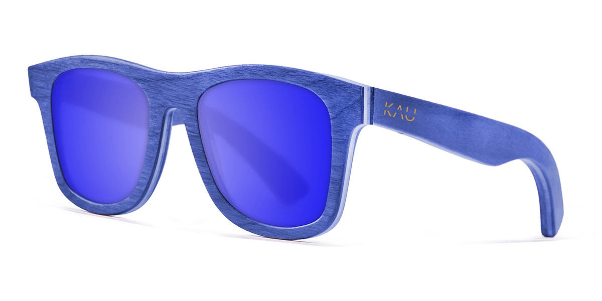 Miami blue skate wood polarized sunglasses front