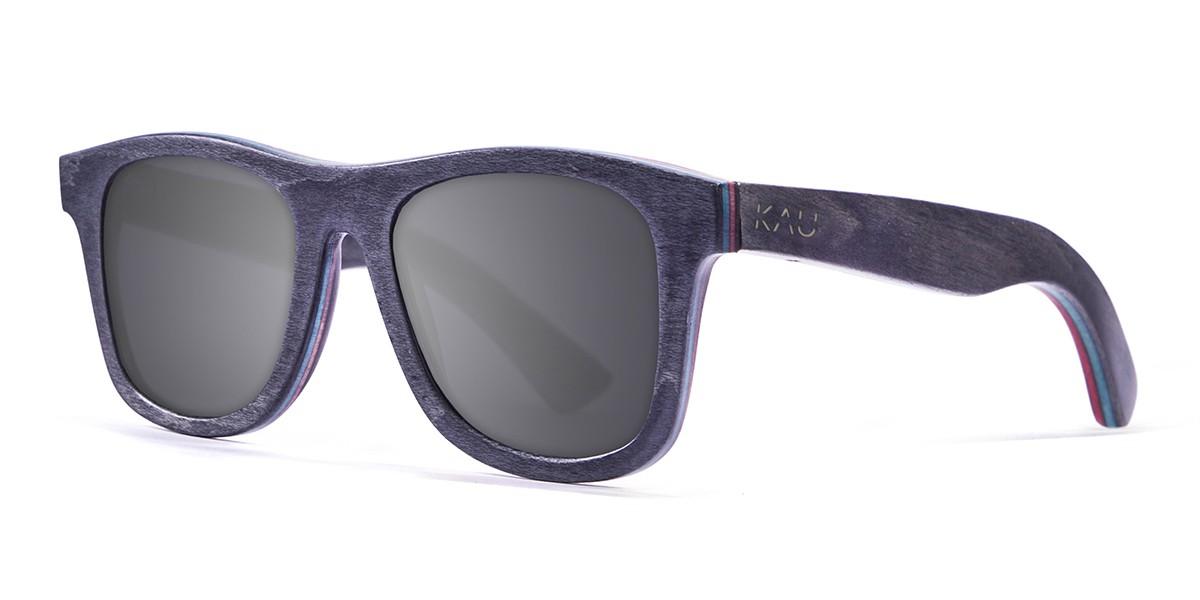 Miami black skate wood polarized sunglasses front