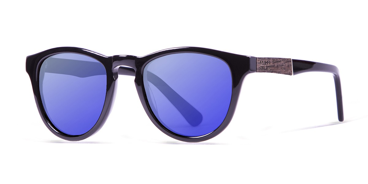 Florencia shiny black revo blue lens polarized sunglasses front