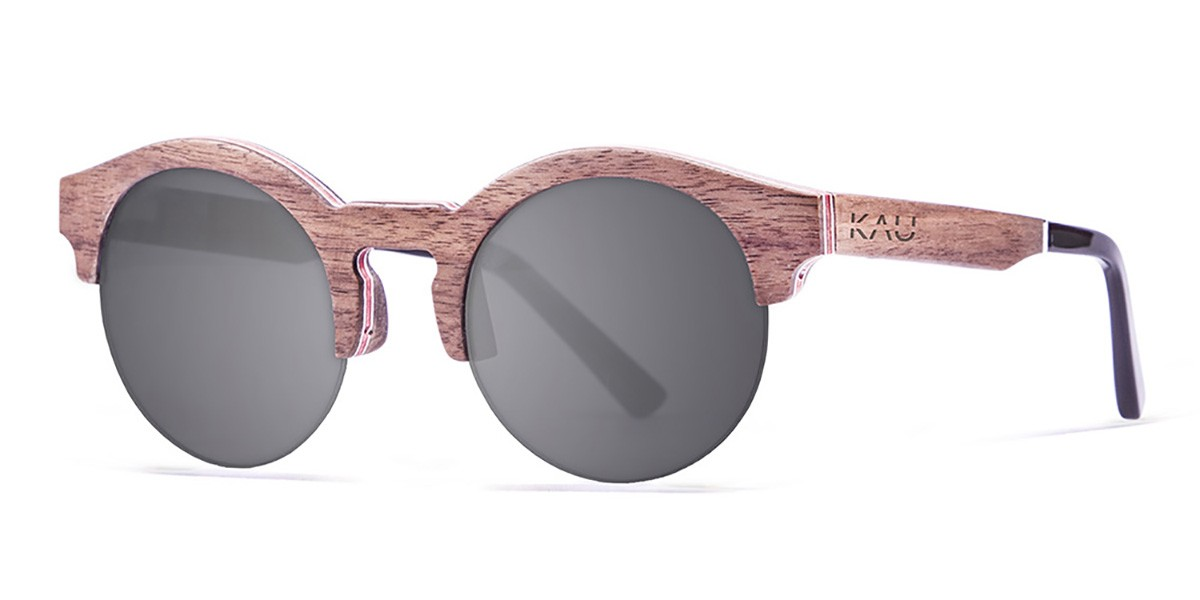 HONKONG line blue wooden polarized sunglasses